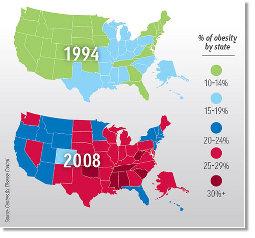 US Obesity Map Bernadette Keefe MD - Map of obesity in the us